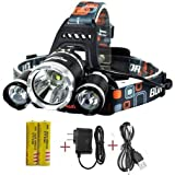 Super Bright Headlamp 15000 Lumens Best 3 T6 CREE LED Lamp Bead and Samsung 18650 3000mAh Rechargeable Li-ion Batteries,Water