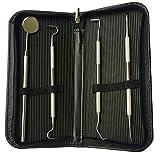 masyourin 両頭 鎌形 歯石取り 彫刻刀 スケーラー ケース ピンセット 4点セット 検診専用