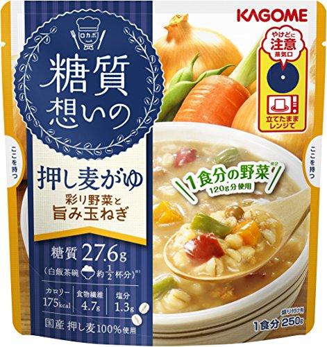 カゴメ 糖質想いの 押し麦がゆ 彩り野菜と旨み玉ねぎ 250g×5袋