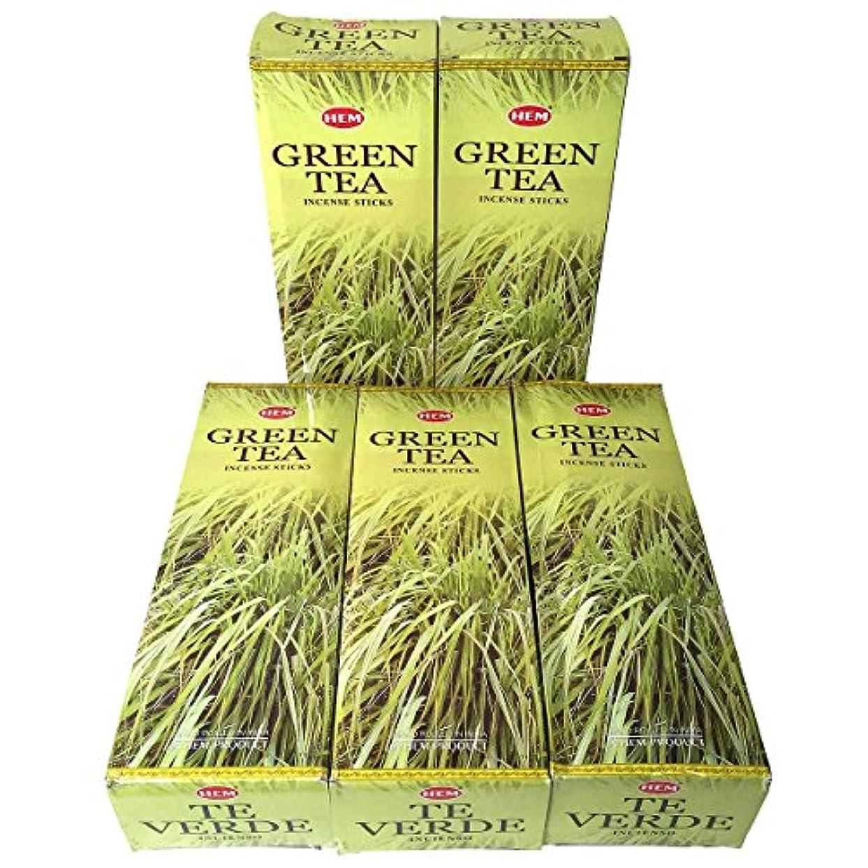 影響力のあるセラー散らすHEM グリーンティー香 スティック 5BOX(30箱)/HEM Green Tea/ インド香 / 送料無料 [並行輸入品]