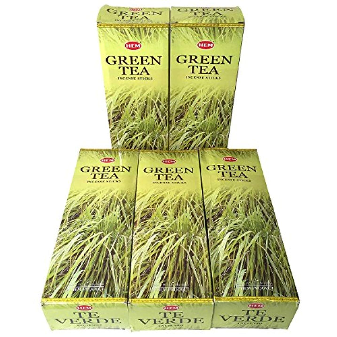 建設チャット発音するHEM グリーンティー香 スティック 5BOX(30箱)/HEM Green Tea/ インド香 / 送料無料 [並行輸入品]