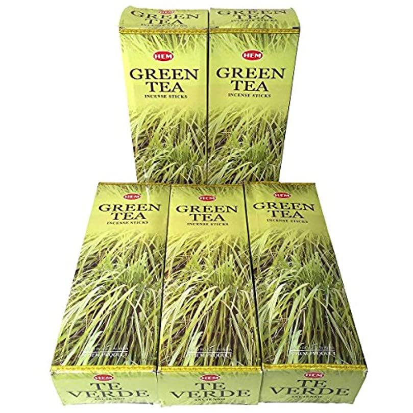 ヒューマニスティック遊具藤色HEM グリーンティー香 スティック 5BOX(30箱)/HEM Green Tea/ インド香 / 送料無料 [並行輸入品]