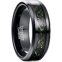 [Vakki(ヴァッキ)] 指輪 メンズ リング タングステン カーボンファイバー ドラゴン 幅:8mm カラー:グリー…
