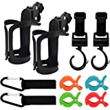 Cunina 10 in 1 Stroller Set, 2 Adpartner Pram Cup Holder with 4 Stroller Hooks Set and 4 Stroller Clips, Universal Drink Hold