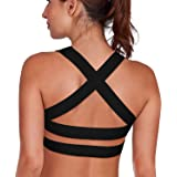 Camellias Womens Sports Bra Padded Breathable High Impact Support Criss Cross Back Yoga Gym Bras