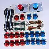 Amazon.co.jpREYANN MAME&ラズベリーパイRetroPie DIYプロジェクトの2選手LEDアーケードゲームDIYパーツレッド+ブルーバンドルキット2倍ゼロ遅延のUSBエンコーダは+2×8ウェイジョイスティック+20xのLED照光押しボタン