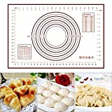 HAPPY DANCER Large Silicone Baking Mat, 16''(W) 24''(L) Reusable Professional Non Stick Silicon Liner for Bake Pans & Rolling, Pans/Pizza/Bread/Pastry/Cookie Making with Measurements