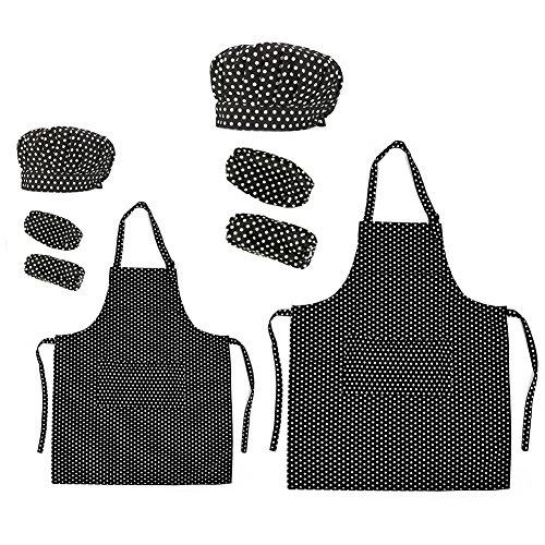 Opromo 多色 子供用 コットンキャンバス エプロン+帽子+オーバースリーブ ポケット付き(1セットの価格) - ブラック ドット 親子ペア - XL