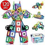 磁石ブロック マグネット 知育玩具 子供 マグネットブロック 磁気ブロック76個 他の車輪・パネルパーツ44個 AUGYMER 収納ケース付き