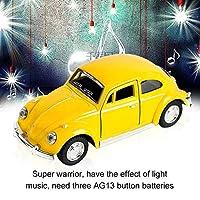 ダイキャスト合金金属車クラシックモデルカブトムシ子供ギフトコレクションプル黄色のおもちゃ