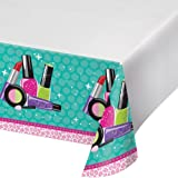 Creative Converting Border Print Plastic Tablecover, Sparkle Spa Party!