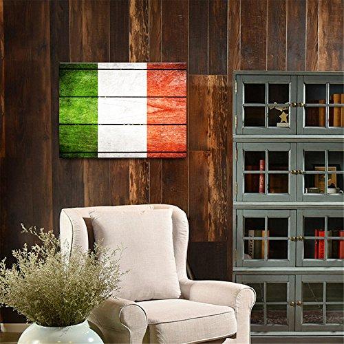 Yanqiao 30*40cm 油絵 イタリアの国旗 玄関や客間に掛け物  おしゃれでかわいい 壁飾り 木縁額付き