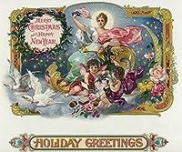 Holiday Greetingsブランドシガーボックスラベル–Merry Christmas and Happy New Year 12 x 18 Art Print LANT-27842-12x18