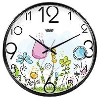 ウォールクロックサイレントムーブメントウォールクロックホームオフィスインテリアリビングルームベッドルームとキッチンクロックウォールサイレントインテーブルクォーツ時計 ホームデコレーション時計 (Color : Black -634, サイズ : 14 In.)