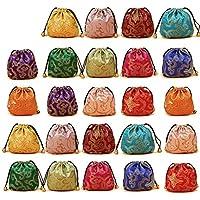 Elesa Miracle 24pcs Silk Brocade Jewelry Pouch Bag Drawstring Coin Purse Gift Bag Value Set