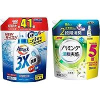 [セット買い]デカラクサイズ アタック3X 超特大 詰め替え 2800g + ハミング消臭実感 リフレッシュグリーンの香…