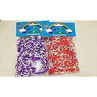 [Artasy ™][並行輸入品] DIY 4段 X 2段カラーゴムバンドブレスレット (パープル x ホワイト + レッド x ホワイト) Loom Bands refill Pack - (600 + 600 pcs) rubber ring Color: Purple X White + Red X White