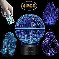 terrosol 3d Star Warsランプ–Star Wars Gifts–4パターン& 1ベース& 1リモート–Star Wars r2- d2/ bb8/ Death Star/Millennium Falcon–Star Warsライト–Star Wars–Optical Illusion LEDライト–Star Warsランプ
