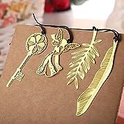 [金のしおり4種セット] 天使・樹の葉・金の鍵・羽根/ブックマーク  栞 BOOK MARK
