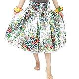 DFギャラリー パウスカート フラ ダンス衣装 レッスン用 シングル JA44143 70cm丈 ホワイトxグリーン