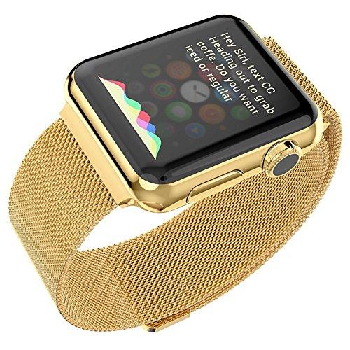 Apple Watchベルト, 特徴的なマグネットクラスプ設計,Biaoge アップルウォッチ メッシュバンド マグネット式 8mmステンレス留め金製ベルト Metal Clasp for Apple Watch All Models 42mm (42mm, ゴールド)
