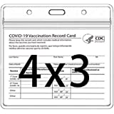 CDC Vaccination Card Protector 4 X 3 Inches Immunization Record Vaccine Cards Holder Clear Vinyl Plastic Sleeve with Waterpro