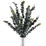 GTIDEA 3PCS 34.6 inches Artificial Eucalyptus Branches Large Frosted Fake Greenery Leaves Stems Shrubs Plastic Outdoor Plants