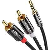 UGREEN 3.5mm ステレオミニプラグ to 2RCA(赤/白) 変換 ステレオオーディオケーブル スマホ タブレット TV 等に対応 1m