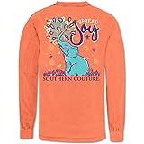 Southern Couture Spread Joy Elephant Melon Orange Cotton Fabric Long Sleeve T-Shirt