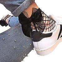 OVERMAL Women's Ruffle Fishnet Ankle High Socks Mesh Lace Fish Net Short Socks
