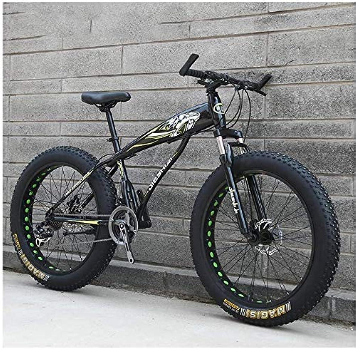風邪をひく満了アカデミー大人のマウンテンバイク、男の子女の子ファットタイヤマウンテントレイルバイク、デュアルディスクブレーキハードテイルマウンテンバイク、高炭素鋼のフレーム、自転車 YCHAOYUE (Color : Yellow C, Size : 24 Inch 27 Speed)