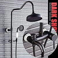 シャワーシステム、シャワーシステムのオイルはブロンズ/ブラック調整可能なスライドバーをこすりました - 3つのアウトレットシャワーは、柔軟性 - レインシャワーとハンドヘルドを意味します。 - 最新降雨量
