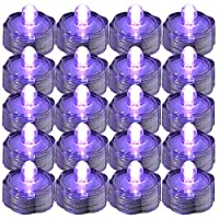 SUPER Bright LED Floral Tea Light Submersible Lights For Party Wedding (Purple, 20 Pack) by JYtrend