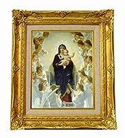 世界の名画 ブクロー 天使と聖母 ジクレーキャンバス複製画F3号豪華額装品