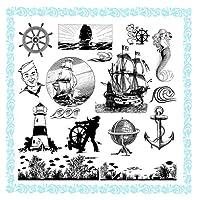 Sailshipオーシャン中毒 ~ クリアスタンプ (18x18cm) // Sailship Ocean Addicted ~ Clear stamps pack (9x18cm) FLONZ