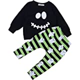 Infant Toddler Baby Boy Halloween Outfits Shirt Top Sweatshirt Long Pants Trouser 2Pcs Skull Clothes Set