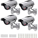 AlfaView Solar Powered Bullet Dummy Fake Surveillance Camera Security CCTV Dome Camera with LED Flashing Light for Outdoor/In
