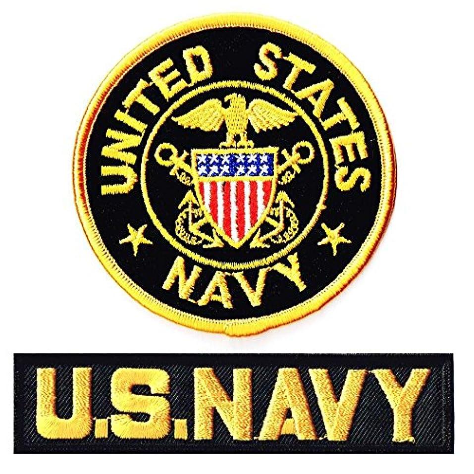 小包テメリティどちらかミリタリーワッペン 米海軍士官M+NAVYタブ2Pセット