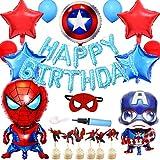 スパイダーマン誕生日 スパイダーマン キャプテンアメリカ バルーン 男の子 誕生日 ベビーシャワー 可愛い かっこいい スパイダーマンケーキ挿入カード 空気入れ バルーン接着剤