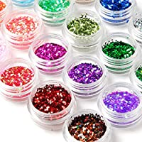 24Box Nail Art Decoration Glitter Paillette Dust Powder