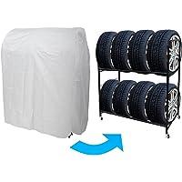 WEIMALL タイヤラックカバー (選べるサイズ) 幅120×奥行80×高さ146cm 最大8本 シルバーコート 専用…
