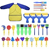 YallFairy Washable Paint Brushes Set for Toddler Kids Early Learning Toys Finger Paints sponges Art Supplies Gifts -nontoxic-