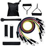 Tickas Resistance Bands Set,Resistance Bands Set (11pcs) Exercise Bands with Door Anchor Handles Ankle Strap and Carrying Bag