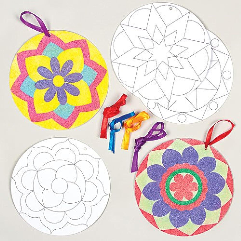 キラキラ マンダラ オーナメント サンドアート用台紙(8枚入り)子どもたちの工作、手作りプレゼントに キッズパーティの景品に