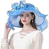 KN Accessories Women Foldable Organza Church Derby Hat Ruffles Wide Brim Floral Flat Top Hat