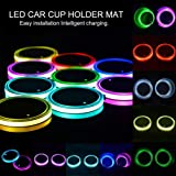 Sanpanie LED Car Cup Holder Lights 7 Colors Changing USB Charging Mat Luminescent Cup Pad Coaster Insert LED Interior Atmosph