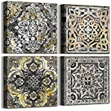 LPWart Boho Decor Mandala Prints for Bathroom Gold Black Vintage Flowers Pattern Canvas Wall Art 4 Pieces Artwork Framed Wall
