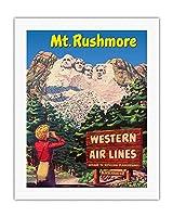 ラシュモア山国立記念公園 - 米国サウスダコタ州ブラックヒルズ - ウェスタン航空 - ウェスタン行楽地への航路 - ビンテージな世界旅行のポスター c.1950s - キャンバスアート - 51cm x 66cm キャンバスアート(ロール)
