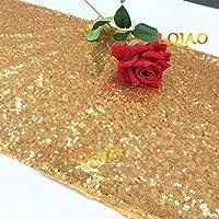 LQIAO ゴールデンスパンコール テーブル ランナー-30x180cm、色のオプション