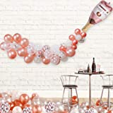 "Champagne Bottle Balloon Kit, 40"" Champagne Wine Bottle Rose Gold Balloon and 70 PCS Assorted Balloons, Ideal for Wedding Bir"